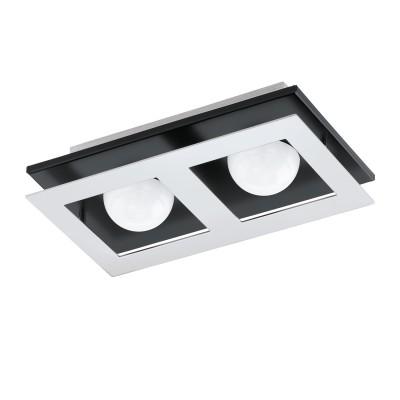 96532 Eglo - Светодиодный светильник настенно-потолочный BELAMONTE 1 диммир.Прямоугольные<br><br><br>Установка на натяжной потолок: Да<br>Крепление: Планка<br>Цветовая t, К: 3000<br>Тип лампы: LED - светодиодная<br>Тип цоколя: LED, встроенные светодиоды<br>Цвет арматуры: черный/серебристый<br>Количество ламп: 2<br>Ширина, мм: 140<br>Длина, мм: 255<br>Высота, мм: 65<br>Поверхность арматуры: матовая<br>Оттенок (цвет): серебристый<br>MAX мощность ламп, Вт: 3.3