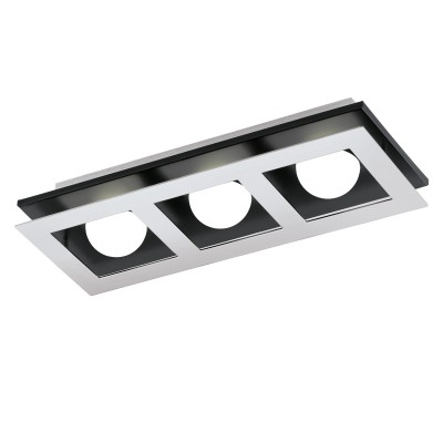 96533 Eglo - Светодиодный светильник настенно-потолочный BELAMONTE 1 диммир.Прямоугольные<br><br><br>Установка на натяжной потолок: Да<br>Крепление: Планка<br>Цветовая t, К: 3000<br>Тип лампы: LED - светодиодная<br>Тип цоколя: LED, встроенные светодиоды<br>Цвет арматуры: черный/серебристый<br>Количество ламп: 3<br>Ширина, мм: 140<br>Длина, мм: 370<br>Высота, мм: 65<br>Поверхность арматуры: матовая<br>Оттенок (цвет): серебристый<br>MAX мощность ламп, Вт: 3.3