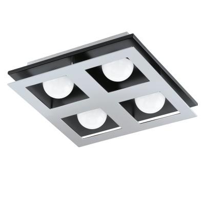 96534 Eglo - Светодиодный светильник настенно-потолочный BELAMONTE 1 диммир.Квадратные<br><br><br>Установка на натяжной потолок: Да<br>Крепление: Планка<br>Цветовая t, К: 3000<br>Тип лампы: LED - светодиодная<br>Тип цоколя: LED, встроенные светодиоды<br>Цвет арматуры: черный/серебристый<br>Количество ламп: 4<br>Ширина, мм: 270<br>Длина, мм: 270<br>Высота, мм: 65<br>Поверхность арматуры: матовая<br>Оттенок (цвет): серебристый<br>MAX мощность ламп, Вт: 3.3<br>Общая мощность, Вт: 13.2