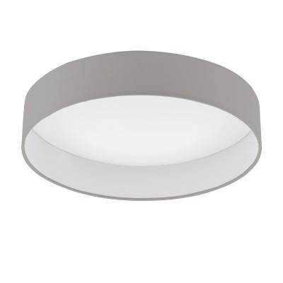 96539 Eglo - Светодиодная люстра PALOMARO 1 диммир.Потолочные<br><br><br>Установка на натяжной потолок: Да<br>S освещ. до, м2: 7<br>Крепление: Планка<br>Цветовая t, К: 3000<br>Тип лампы: LED-светодиодная<br>Тип цоколя: LED<br>Цвет арматуры: белый<br>Количество ламп: 1<br>Диаметр, мм мм: 405<br>Высота, мм: 100<br>Поверхность арматуры: матовая<br>Оттенок (цвет): серый<br>Общая мощность, Вт: 18