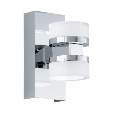 96541 Eglo - Светодиодный бра ROMENDO 1 для ванн. комнаты диммир.Хай-тек<br><br><br>Цветовая t, К: 3000<br>Тип лампы: LED - светодиодная<br>Тип цоколя: LED, встроенные светодиоды<br>Цвет арматуры: серебристый<br>Количество ламп: 2<br>Ширина, мм: 70<br>Расстояние от стены, мм: 120<br>Высота, мм: 155<br>Поверхность арматуры: матовая/глянцевая<br>Оттенок (цвет): серебристый<br>MAX мощность ламп, Вт: 7.2<br>Общая мощность, Вт: 14.4