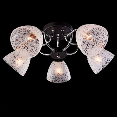 Светильник Евросвет 9658/5 хром/венгеПотолочные<br><br><br>S освещ. до, м2: 15<br>Тип лампы: Накаливания / энергосбережения / светодиодная<br>Тип цоколя: E27<br>Количество ламп: 5<br>MAX мощность ламп, Вт: 60<br>Диаметр, мм мм: 550<br>Высота, мм: 210<br>Цвет арматуры: серебристый