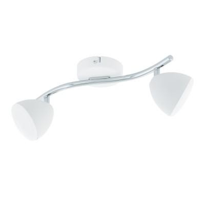 96596 Eglo - Светодиодный спот CALVOSдвойные светильники споты<br><br><br>Установка на натяжной потолок: Да<br>Крепление: Планка<br>Цветовая t, К: 3000<br>Тип лампы: LED - светодиодная<br>Тип цоколя: LED, встроенные светодиоды<br>Цвет арматуры: серебристый/белый<br>Количество ламп: 2<br>Ширина, мм: 95<br>Длина, мм: 370<br>Поверхность арматуры: глянцевая/матовая<br>Оттенок (цвет): серебристый/белый<br>MAX мощность ламп, Вт: 6<br>Общая мощность, Вт: 12