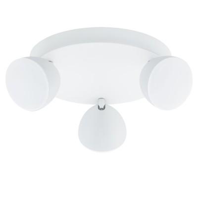 96601 Eglo - Светодиодный спот CALVOSтройные споты<br><br><br>Установка на натяжной потолок: Да<br>Крепление: Планка<br>Цветовая t, К: 3000<br>Тип лампы: LED - светодиодная<br>Тип цоколя: LED, встроенные светодиоды<br>Цвет арматуры: белый/серебристый<br>Количество ламп: 3<br>Диаметр, мм мм: 250<br>Поверхность арматуры: матовая<br>Оттенок (цвет): белый<br>MAX мощность ламп, Вт: 6<br>Общая мощность, Вт: 18