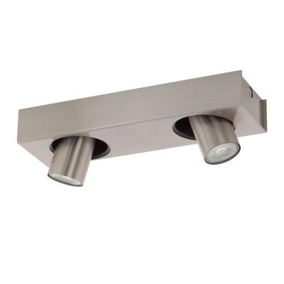 96606 Eglo - Светодиодный спот ROBLEDO 1двойные светильники споты<br><br><br>Установка на натяжной потолок: Да<br>Крепление: Планка<br>Цветовая t, К: 3000<br>Тип лампы: галогенная/LED - светодиодная<br>Тип цоколя: GU10<br>Цвет арматуры: серебристый<br>Количество ламп: 2<br>Ширина, мм: 100<br>Длина, мм: 340<br>Поверхность арматуры: матовая<br>Оттенок (цвет): никель<br>MAX мощность ламп, Вт: 50