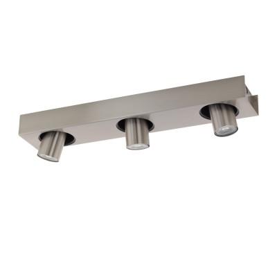 96607 Eglo - Светодиодный спот ROBLEDO 1Тройные<br><br><br>Установка на натяжной потолок: Да<br>Крепление: Планка<br>Цветовая t, К: 3000<br>Тип лампы: галогенная/LED - светодиодная<br>Тип цоколя: GU10<br>Цвет арматуры: серебристый<br>Количество ламп: 3<br>Ширина, мм: 100<br>Длина, мм: 400<br>Поверхность арматуры: матовая<br>Оттенок (цвет): никель<br>MAX мощность ламп, Вт: 50