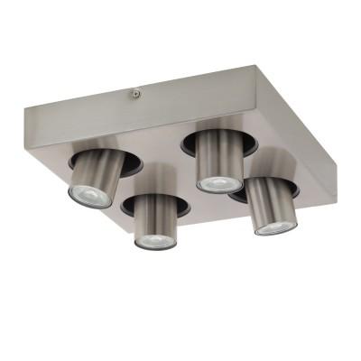 96608 Eglo - Светодиодный спот ROBLEDO 1споты 4 лампы<br><br><br>Установка на натяжной потолок: Да<br>Крепление: Планка<br>Цветовая t, К: 3000<br>Тип лампы: LED - светодиодная<br>Тип цоколя: GU10<br>Цвет арматуры: серебристый<br>Количество ламп: 4<br>Ширина, мм: 280<br>Длина, мм: 280<br>Поверхность арматуры: матовая<br>Оттенок (цвет): никель<br>MAX мощность ламп, Вт: 50