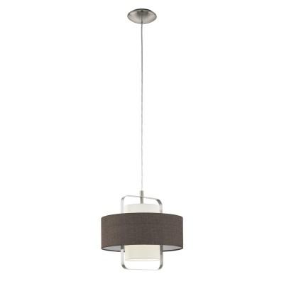 Подвес 96724 Eglo FONTAOодиночные подвесные светильники<br><br><br>Установка на натяжной потолок: Да<br>Крепление: Планка<br>Тип лампы: Накаливания / энергосбережения / светодиодная<br>Тип цоколя: E27<br>Цвет арматуры: серебристый<br>Количество ламп: 1<br>Диаметр, мм мм: 350<br>Высота полная, мм: 1100<br>Высота, мм: 400<br>Поверхность арматуры: матовая<br>Оттенок (цвет): никель<br>MAX мощность ламп, Вт: 60