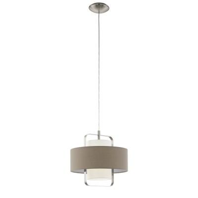 Подвесной светильник 96726 Eglo FONTAOодиночные подвесные светильники<br><br><br>Установка на натяжной потолок: Да<br>S освещ. до, м2: 3<br>Тип лампы: Накаливания / энергосбережения / светодиодная<br>Тип цоколя: E27<br>Цвет арматуры: серебристый<br>Количество ламп: 1<br>Диаметр, мм мм: 350<br>Высота полная, мм: 1100<br>Высота, мм: 400<br>Поверхность арматуры: матовая<br>Оттенок (цвет): никель<br>MAX мощность ламп, Вт: 60