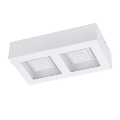 96792 Eglo - Светодиодный настенно-потолочный светильник FERREROSПрямоугольные<br><br><br>Цветовая t, К: 3000<br>Тип лампы: LED - светодиодная<br>Тип цоколя: LED, встроенные светодиоды<br>Цвет арматуры: белый<br>Количество ламп: 2<br>Ширина, мм: 140<br>Длина, мм: 255<br>Высота, мм: 60<br>Поверхность арматуры: матовая<br>Оттенок (цвет): белый<br>MAX мощность ламп, Вт: 6.3<br>Общая мощность, Вт: 12.6