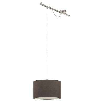 96797 Eglo - Подвес CALCENAодиночные подвесные светильники<br><br><br>Установка на натяжной потолок: Да<br>S освещ. до, м2: 3<br>Крепление: Планка<br>Тип лампы: Накаливания / энергосбережения / светодиодная<br>Тип цоколя: E27<br>Цвет арматуры: серебристый<br>Количество ламп: 1<br>Ширина, мм: 380<br>Высота полная, мм: 1300<br>Длина, мм: 580<br>Высота, мм: 400<br>Поверхность арматуры: матовая<br>Оттенок (цвет): никель<br>MAX мощность ламп, Вт: 60