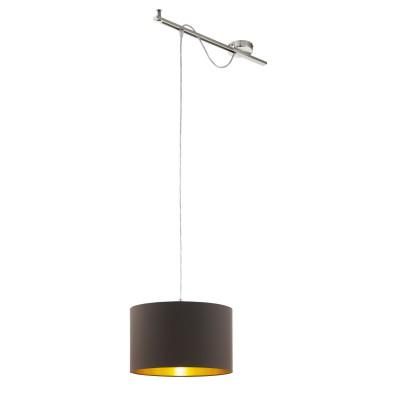 96798 Eglo - Подвес CALCENAодиночные подвесные светильники<br><br><br>Установка на натяжной потолок: Да<br>S освещ. до, м2: 3<br>Крепление: Планка<br>Тип лампы: Накаливания / энергосбережения / светодиодная<br>Тип цоколя: E27<br>Цвет арматуры: серебристый<br>Количество ламп: 1<br>Ширина, мм: 380<br>Высота полная, мм: 1300<br>Длина, мм: 580<br>Высота, мм: 400<br>Поверхность арматуры: матовая<br>Оттенок (цвет): никель<br>MAX мощность ламп, Вт: 60
