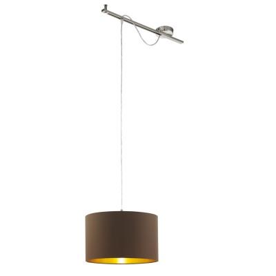 96799 Eglo - Подвес CALCENAодиночные подвесные светильники<br><br><br>Установка на натяжной потолок: Да<br>S освещ. до, м2: 3<br>Крепление: Планка<br>Тип лампы: Накаливания / энергосбережения / светодиодная<br>Тип цоколя: E27<br>Цвет арматуры: серебристый<br>Количество ламп: 1<br>Ширина, мм: 380<br>Высота полная, мм: 1300<br>Длина, мм: 580<br>Высота, мм: 400<br>Поверхность арматуры: матовая<br>Оттенок (цвет): никель<br>MAX мощность ламп, Вт: 60