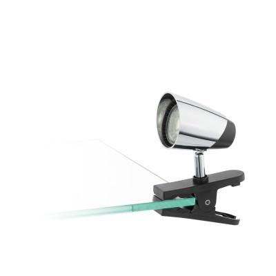 96843 Eglo - Светодиодный светильник на прищепке MONCALVIOодиночные споты<br><br><br>Крепление: Прищепка<br>Тип лампы: галогенная/LED - светодиодная<br>Тип цоколя: GU10<br>Цвет арматуры: черный/серебристый<br>Количество ламп: 1<br>Ширина, мм: 70<br>Длина, мм: 100<br>Высота, мм: 145<br>Поверхность арматуры: матовая/глянцевая<br>Оттенок (цвет): черный/серебристый<br>MAX мощность ламп, Вт: 50