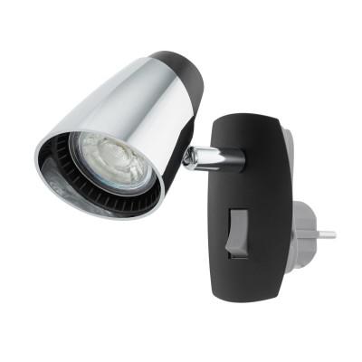 96845 Eglo - Светодиодное бра в розетку MONCALVIOОдиночные<br><br><br>Крепление: Вставляется в розетку<br>Тип лампы: галогенная/LED - светодиодная<br>Тип цоколя: GU10<br>Цвет арматуры: черный/серебристый<br>Количество ламп: 1<br>Ширина, мм: 70<br>Расстояние от стены, мм: 140<br>Высота, мм: 100<br>Поверхность арматуры: матовая/глянцевая<br>Оттенок (цвет): черный/серебристый<br>MAX мощность ламп, Вт: 50