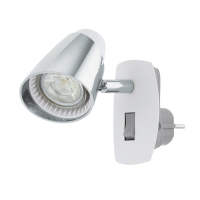 96846 Eglo - Светодиодное бра в розетку MONCALVIO 1Одиночные<br><br><br>Крепление: Вставляется в розетку<br>Тип лампы: галогенная/LED - светодиодная<br>Тип цоколя: GU10<br>Цвет арматуры: белый/серебристый<br>Количество ламп: 1<br>Ширина, мм: 70<br>Расстояние от стены, мм: 140<br>Высота, мм: 100<br>Поверхность арматуры: глянцевая/матовая<br>Оттенок (цвет): серебристый/белый<br>MAX мощность ламп, Вт: 50