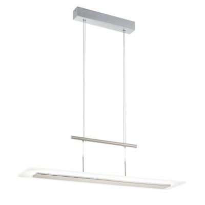 96864 Eglo - Светодиодный подвес MANRESA c регул. высоты и димм.длинные подвесные светильники<br><br><br>Цветовая t, К: 3000<br>Тип лампы: LED - светодиодная<br>Тип цоколя: LED, встроенные светодиоды<br>Цвет арматуры: серебристый<br>Количество ламп: 1<br>Ширина, мм: 220<br>Высота полная, мм: 1600<br>Длина, мм: 950<br>Высота, мм: 900<br>Поверхность арматуры: матовая<br>Оттенок (цвет): никель<br>Общая мощность, Вт: 28