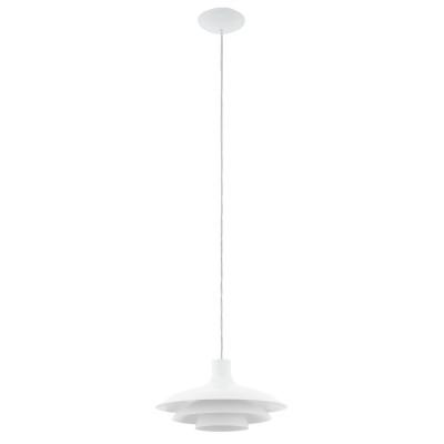 96875 Eglo - Подвес ALMOZARодиночные подвесные светильники<br><br><br>Установка на натяжной потолок: Да<br>S освещ. до, м2: 3<br>Крепление: Планка<br>Тип лампы: Накаливания / энергосбережения / светодиодная<br>Тип цоколя: E27<br>Цвет арматуры: белый<br>Количество ламп: 1<br>Диаметр, мм мм: 355<br>Высота полная, мм: 1100<br>Поверхность арматуры: матовая<br>Оттенок (цвет): белый<br>MAX мощность ламп, Вт: 60