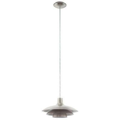 96876 Eglo - Подвес ALMOZARОдиночные<br><br><br>Установка на натяжной потолок: Да<br>Крепление: Планка<br>Тип лампы: Накаливания / энергосбережения / светодиодная<br>Тип цоколя: E27<br>Цвет арматуры: серебристый<br>Количество ламп: 1<br>Диаметр, мм мм: 355<br>Высота полная, мм: 1100<br>Поверхность арматуры: матовая<br>Оттенок (цвет): никель<br>MAX мощность ламп, Вт: 60