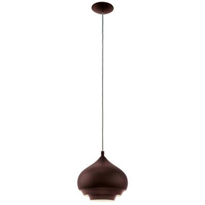 96884 Eglo - Подвес CAMBORNEОдиночные<br><br><br>Установка на натяжной потолок: Да<br>Крепление: Планка<br>Тип лампы: Накаливания / энергосбережения / светодиодная<br>Тип цоколя: E27<br>Цвет арматуры: коричневый<br>Количество ламп: 1<br>Диаметр, мм мм: 290<br>Высота полная, мм: 1100<br>Поверхность арматуры: матовая<br>Оттенок (цвет): коричневый<br>MAX мощность ламп, Вт: 60