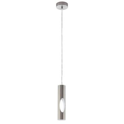 96903 Eglo - Светодиодный подвес CERATELLAодиночные подвесные светильники<br><br><br>Установка на натяжной потолок: Да<br>Крепление: Планка<br>Цветовая t, К: 3000<br>Тип лампы: галогенная/LED - светодиодная<br>Тип цоколя: GU10<br>Цвет арматуры: серебристый<br>Количество ламп: 1<br>Диаметр, мм мм: 100<br>Высота полная, мм: 1100<br>Высота, мм: 400<br>Поверхность арматуры: матовая<br>Оттенок (цвет): никель<br>MAX мощность ламп, Вт: 50