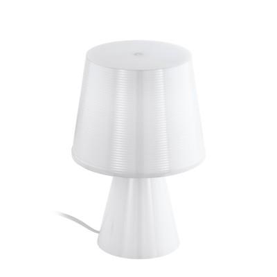 96907 Eglo - Настольная лампа MONTALBOСовременные настольные лампы модерн<br><br><br>Тип лампы: Накаливания / энергосбережения / светодиодная<br>Тип цоколя: E14<br>Цвет арматуры: белый<br>Количество ламп: 1<br>Диаметр, мм мм: 175<br>Размеры основания, мм: 110<br>Высота, мм: 260<br>Поверхность арматуры: матовая<br>Оттенок (цвет): белый<br>MAX мощность ламп, Вт: 40