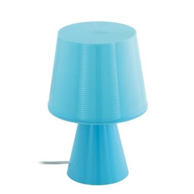 96909 Eglo - Настольная лампа MONTALBOСовременные<br><br><br>Тип лампы: Накаливания / энергосбережения / светодиодная<br>Тип цоколя: E14<br>Цвет арматуры: голубой<br>Количество ламп: 1<br>Диаметр, мм мм: 175<br>Размеры основания, мм: 110<br>Высота, мм: 260<br>Поверхность арматуры: матовая<br>Оттенок (цвет): голубой<br>MAX мощность ламп, Вт: 40