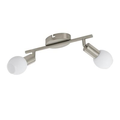 96912 Eglo - Светодиодный спот VEDRA 1двойные светильники споты<br><br><br>Установка на натяжной потолок: Да<br>Крепление: Планка<br>Цветовая t, К: 3000<br>Тип лампы: LED - светодиодная<br>Тип цоколя: LED, встроенные светодиоды<br>Цвет арматуры: серебристый<br>Количество ламп: 2<br>Ширина, мм: 65<br>Длина, мм: 285<br>Поверхность арматуры: матовая<br>Оттенок (цвет): никель<br>MAX мощность ламп, Вт: 3.5<br>Общая мощность, Вт: 7