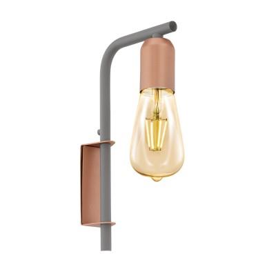 96921 Eglo - Бра ADRI 1бра в стиле лофт<br><br><br>Тип лампы: Накаливания / энергосбережения / светодиодная<br>Тип цоколя: E27<br>Цвет арматуры: золотой/серый<br>Количество ламп: 1<br>Ширина, мм: 40<br>Расстояние от стены, мм: 145<br>Высота, мм: 260<br>Поверхность арматуры: матовая<br>Оттенок (цвет): розовый<br>MAX мощность ламп, Вт: 60