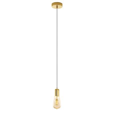 96924 Eglo - Подвес ADRI 2одиночные подвесные светильники<br><br><br>Установка на натяжной потолок: Да<br>Крепление: Планка<br>Тип лампы: Накаливания / энергосбережения / светодиодная<br>Тип цоколя: E27<br>Цвет арматуры: золотой<br>Количество ламп: 1<br>Высота полная, мм: 1100<br>Поверхность арматуры: глянцевая<br>Оттенок (цвет): золотой<br>MAX мощность ламп, Вт: 60