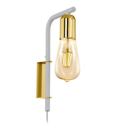 96925 Eglo - Бра ADRI 2бра в стиле лофт<br><br><br>Тип лампы: Накаливания / энергосбережения / светодиодная<br>Тип цоколя: E27<br>Цвет арматуры: белый/золотой<br>Количество ламп: 1<br>Ширина, мм: 40<br>Расстояние от стены, мм: 145<br>Высота, мм: 260<br>Поверхность арматуры: глянцевая<br>Оттенок (цвет): золотой<br>MAX мощность ламп, Вт: 60