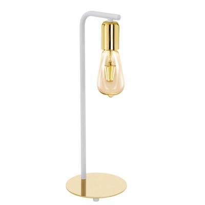 96926 Eglo - Настольная лампа ADRI 2Лофт<br><br><br>Тип лампы: Накаливания / энергосбережения / светодиодная<br>Тип цоколя: E27<br>Цвет арматуры: белый/золотой<br>Количество ламп: 1<br>Диаметр, мм мм: 155<br>Размеры основания, мм: 155<br>Высота, мм: 430<br>Поверхность арматуры: глянцевая<br>Оттенок (цвет): золотой<br>MAX мощность ламп, Вт: 60