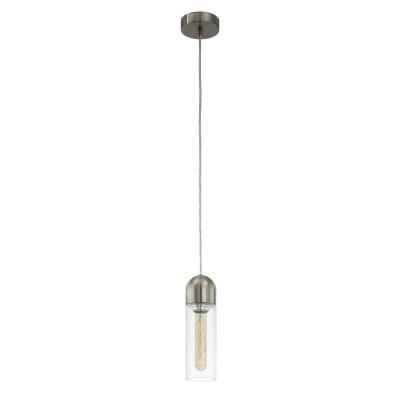 96941 Eglo - Светодиодный подвес ZACHAROОдиночные<br><br><br>Установка на натяжной потолок: Да<br>Крепление: Планка<br>Цветовая t, К: 2200<br>Тип лампы: Накаливания / энергосбережения / светодиодная<br>Тип цоколя: E27<br>Цвет арматуры: серебристый<br>Количество ламп: 1<br>Диаметр, мм мм: 100<br>Высота полная, мм: 1500<br>Поверхность арматуры: глянцевая<br>Оттенок (цвет): никель<br>MAX мощность ламп, Вт: 60