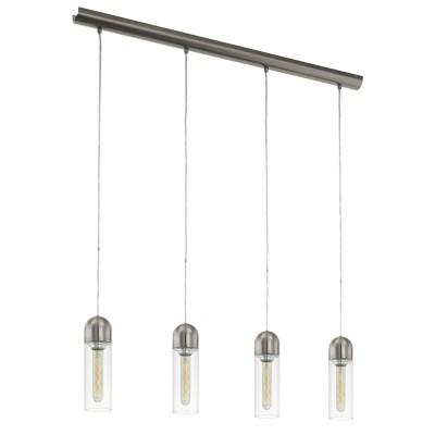 96942 Eglo - Светодиодный подвес ZACHAROДлинные 4+<br><br><br>Установка на натяжной потолок: Да<br>Крепление: Планка<br>Тип лампы: Накаливания / энергосбережения / светодиодная<br>Тип цоколя: E27<br>Цвет арматуры: серебристый<br>Количество ламп: 4<br>Ширина, мм: 80<br>Высота полная, мм: 1500<br>Длина, мм: 975<br>Поверхность арматуры: глянцевая<br>Оттенок (цвет): никель<br>MAX мощность ламп, Вт: 60<br>Общая мощность, Вт: 16