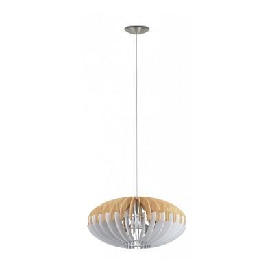 96963 Eglo - Подвес SOTOSодиночные подвесные светильники<br><br><br>Установка на натяжной потолок: да<br>Крепление: планка<br>Тип лампы: накаливания/энергосбер-я<br>Тип цоколя: E27<br>Цвет арматуры: серебристый<br>Количество ламп: 1<br>Диаметр, мм мм: 500<br>Высота, мм: 1500<br>Оттенок (цвет): белый<br>MAX мощность ламп, Вт: 60