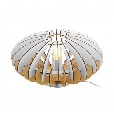 96965 Eglo - Наст. лампа SOTOSНастольные лампы хай тек<br><br><br>Тип лампы: накаливания/энергосбер-я<br>Тип цоколя: E27<br>Цвет арматуры: серебристый<br>Количество ламп: 1<br>Диаметр, мм мм: 350<br>Высота, мм: 190<br>Оттенок (цвет): белый<br>MAX мощность ламп, Вт: 60