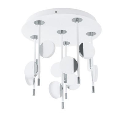 96968 Eglo - Светодиодный потол. светильник OLINDRA диммир.люстры хай тек потолочные<br><br><br>Установка на натяжной потолок: Да<br>Крепление: Планка<br>Цветовая t, К: 3000<br>Тип лампы: LED - светодиодная<br>Тип цоколя: LED, встроенные светодиоды<br>Цвет арматуры: белый/серебристый<br>Количество ламп: 12<br>Диаметр, мм мм: 395<br>Высота, мм: 425<br>Поверхность арматуры: матовая<br>Оттенок (цвет): белый<br>MAX мощность ламп, Вт: 2.2<br>Общая мощность, Вт: 26.4