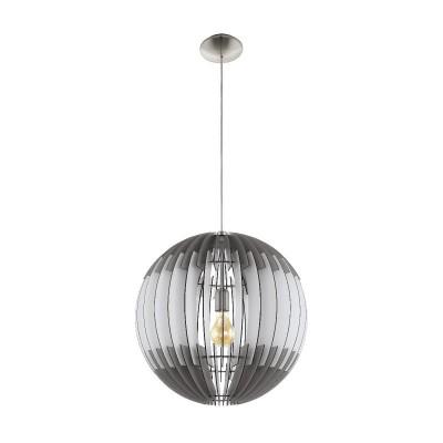 96974 Eglo - Подвес OLMEROодиночные подвесные светильники<br><br><br>Установка на натяжной потолок: да<br>Крепление: планка<br>Тип лампы: накаливания/энергосбер-я<br>Тип цоколя: E27<br>Цвет арматуры: серебристый<br>Количество ламп: 1<br>Диаметр, мм мм: 700<br>Высота, мм: 2000<br>Оттенок (цвет): белый<br>MAX мощность ламп, Вт: 60
