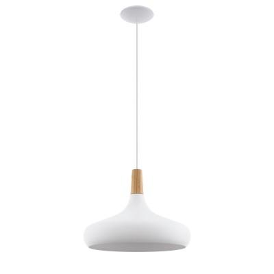 96983 Eglo - Подвес SABINARодиночные подвесные светильники<br><br><br>Тип лампы: Накаливания / энергосбережения / светодиодная<br>Тип цоколя: E27<br>Цвет арматуры: белый<br>Количество ламп: 1<br>Диаметр, мм мм: 400<br>Высота полная, мм: 1100<br>Поверхность арматуры: матовая<br>Оттенок (цвет): белый<br>MAX мощность ламп, Вт: 40