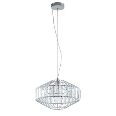 96987 Eglo - Подвес PEDROLAОдиночные<br><br><br>Тип лампы: Накаливания / энергосбережения / светодиодная<br>Тип цоколя: E27<br>Цвет арматуры: серебристый<br>Количество ламп: 1<br>Диаметр, мм мм: 400<br>Высота полная, мм: 1100<br>Поверхность арматуры: глянцевая<br>Оттенок (цвет): серебристый<br>MAX мощность ламп, Вт: 60