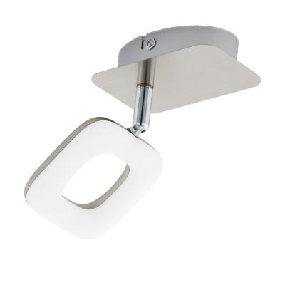97006 Eglo - Светодиодный спот LITAGOодиночные споты<br><br><br>Установка на натяжной потолок: Да<br>Крепление: Планка<br>Цветовая t, К: 3000<br>Тип лампы: LED - светодиодная<br>Тип цоколя: LED, встроенные светодиоды<br>Цвет арматуры: серебристый<br>Количество ламп: 1<br>Ширина, мм: 75<br>Длина, мм: 120<br>Поверхность арматуры: матовая<br>Оттенок (цвет): никель<br>MAX мощность ламп, Вт: 4