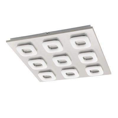 97013 Eglo - Светодиодный светильник настенно-потолочный LITAGOквадратные светильники<br><br><br>Установка на натяжной потолок: Да<br>Крепление: Планка<br>Цветовая t, К: 3000<br>Тип лампы: LED - светодиодная<br>Тип цоколя: LED, встроенные светодиоды<br>Цвет арматуры: серебристый<br>Количество ламп: 9<br>Ширина, мм: 470<br>Длина, мм: 470<br>Высота, мм: 55<br>Поверхность арматуры: матовая<br>Оттенок (цвет): никель<br>MAX мощность ламп, Вт: 4<br>Общая мощность, Вт: 36