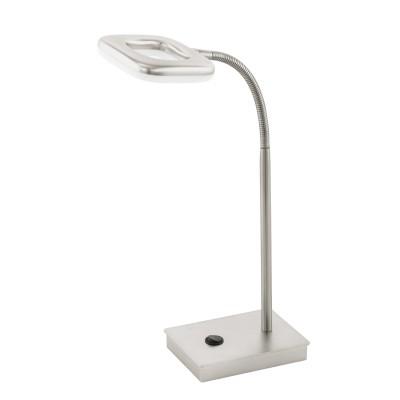 97017 Eglo - Светодиодный настольная лампа LITAGO с рег-кой и сенс. выкл.Настольные лампы хай тек<br><br><br>Цветовая t, К: 3000<br>Тип лампы: LED - светодиодная<br>Тип цоколя: LED, встроенные светодиоды<br>Цвет арматуры: серебристый<br>Количество ламп: 1<br>Ширина, мм: 90<br>Размеры основания, мм: 90 х 125<br>Длина, мм: 120<br>Высота, мм: 370<br>Поверхность арматуры: матовая<br>Оттенок (цвет): никель<br>Общая мощность, Вт: 4