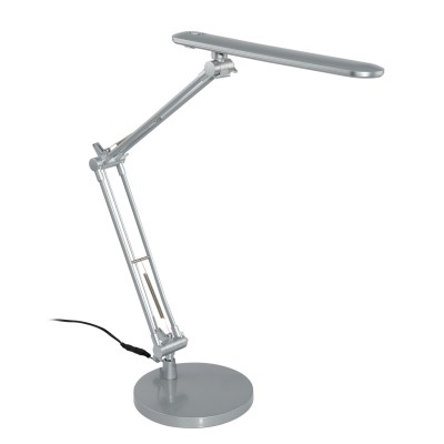 97022 Eglo - Светодиодный настольная лампа TORNOSСовременные<br><br><br>Цветовая t, К: 3000<br>Тип лампы: LED - светодиодная<br>Тип цоколя: LED<br>Цвет арматуры: серебристый<br>Количество ламп: 1<br>Ширина, мм: 170<br>Высота полная, мм: 380<br>Размеры основания, мм: 170<br>Длина, мм: 300<br>Поверхность арматуры: матовая<br>Оттенок (цвет): серебристый<br>Общая мощность, Вт: 5