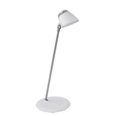 97046 Eglo - Светодиодный настольная лампа CAPUANA с сенсор. димм.Современные<br><br><br>Цветовая t, К: 3000<br>Тип лампы: LED - светодиодная<br>Тип цоколя: LED, встроенные светодиоды<br>Цвет арматуры: серебристый/белый<br>Количество ламп: 1<br>Ширина, мм: 180<br>Размеры основания, мм: 180<br>Высота, мм: 400<br>Поверхность арматуры: матовая<br>Оттенок (цвет): белый/серебристый<br>Общая мощность, Вт: 4.8