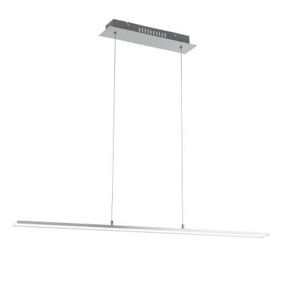97061 Eglo - Светодиодный подвес FLAGRANERAдлинные подвесные светильники<br><br><br>Установка на натяжной потолок: Да<br>Крепление: Планка<br>Цветовая t, К: 3000<br>Тип лампы: LED - светодиодная<br>Тип цоколя: LED, встроенные светодиоды<br>Цвет арматуры: серебристый<br>Количество ламп: 1<br>Ширина, мм: 75<br>Высота полная, мм: 1100<br>Длина, мм: 1000<br>Поверхность арматуры: матовая<br>Оттенок (цвет): никель<br>Общая мощность, Вт: 22
