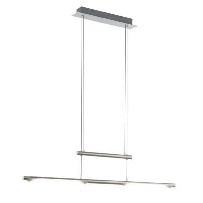 97062 Eglo - Светодиодный подвес FLAGRANERA c рег. высотыдлинные подвесные светильники<br><br><br>Установка на натяжной потолок: Да<br>Крепление: Планка<br>Цветовая t, К: 3000<br>Тип лампы: LED - светодиодная<br>Тип цоколя: LED, встроенные светодиоды<br>Цвет арматуры: серебристый<br>Количество ламп: 1<br>Ширина, мм: 80<br>Высота полная, мм: 1850<br>Длина, мм: 1045<br>Высота, мм: 1000<br>Поверхность арматуры: матовая<br>Оттенок (цвет): никель<br>MAX мощность ламп, Вт: 6<br>Общая мощность, Вт: 12