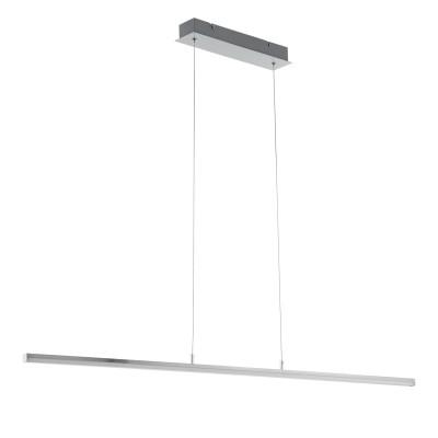 97063 Eglo - Светодиодный подвес FLAGRANERAдлинные подвесные светильники<br><br><br>Установка на натяжной потолок: Да<br>Крепление: Планка<br>Цветовая t, К: 3000<br>Тип лампы: LED - светодиодная<br>Тип цоколя: LED, встроенные светодиоды<br>Цвет арматуры: серебристый<br>Количество ламп: 1<br>Ширина, мм: 80<br>Высота полная, мм: 1300<br>Длина, мм: 1205<br>Поверхность арматуры: матовая<br>Оттенок (цвет): никель<br>Общая мощность, Вт: 19