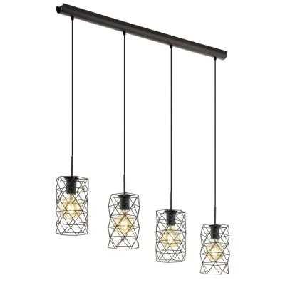 97066 Eglo - Подвес ESTEVAUДлинные 4+<br><br><br>Установка на натяжной потолок: Да<br>S освещ. до, м2: 12<br>Крепление: Планка<br>Тип лампы: Накаливания / энергосбережения / светодиодная<br>Тип цоколя: E27<br>Цвет арматуры: черный<br>Количество ламп: 4<br>Ширина, мм: 145<br>Высота полная, мм: 1100<br>Длина, мм: 975<br>Поверхность арматуры: матовая<br>Оттенок (цвет): черный<br>MAX мощность ламп, Вт: 60<br>Общая мощность, Вт: 240