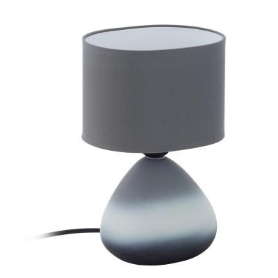 97091 Eglo - Настольная лампа BONILLAСовременные<br><br><br>Тип лампы: Накаливания / энергосбережения / светодиодная<br>Тип цоколя: E27<br>Цвет арматуры: серый<br>Количество ламп: 1<br>Ширина, мм: 120<br>Размеры основания, мм: 80 х 130<br>Длина, мм: 180<br>Высота, мм: 260<br>Поверхность арматуры: матовая<br>Оттенок (цвет): серый<br>MAX мощность ламп, Вт: 60